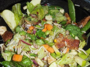 Romaine, edamame, carrots, onion, snap peas, mushrooms, green apple and balsamic vinegar...