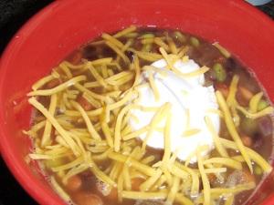 I added pinto beans, jalapeno, onion and edamame.
