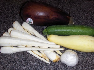 Parsnip, eggplant, green and yellow squash and garlic!
