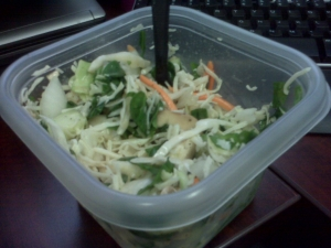 Spinach, cabbage, onion, mushroom, carrots, cukes and lil cheese.